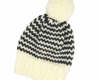 Hat, woolly hat, knitted hat, beanie, bobble hat, winter hat, pom pom, chunky wool, grey and white stripes