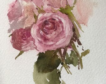 "Original watercolor painting "" Roses """