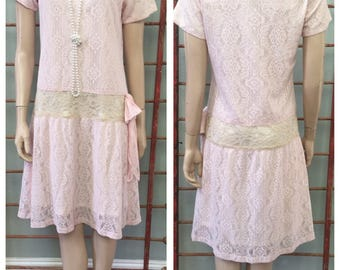 Gorgeous Pale Pink 20's style drop waist flapper look dress / medium