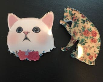 Pair of Acrylic Cat Pins / White Persian Cat and Floral Cat Design