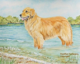 "8"" x 10"" Golden Retriever giclee print,  ""Golden Lake""   Heather Anderson canine artist"