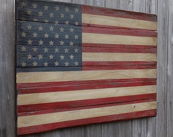 Rustic Wooden American Flag, 23 X 36 inches. Made from recycled fencing. Free Shipping B