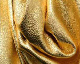 "Metallic Gold Dust ""Vegas"" Leather Cow Hide 12"" x 12"" Pre-Cut  3 ounces grainy TA-26137 (Sec. 8,Shelf 4,B)-leatherguy"
