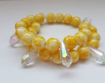 Yellow bracelet, yellow bead bracelet, beaded bracelet, bohemian jewellery, boho bracelet, yellow chunky bracelet, big bead bracelet,
