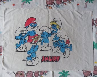Vintage 80's Smurfs Pillowcase cartoon Peyo