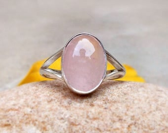 Pink Rose Quartz Ring Simple Ring Gemstone Rings Rose Quartz jewelry Rose Quartz Cabochon Silver Ring Gift Jewelry Quartz Ring size 5 6 7 8