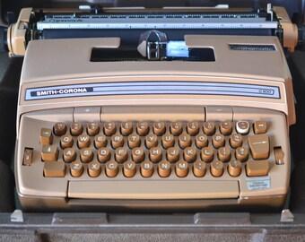 Vintage brown portable electric Typewriter Smith Corona