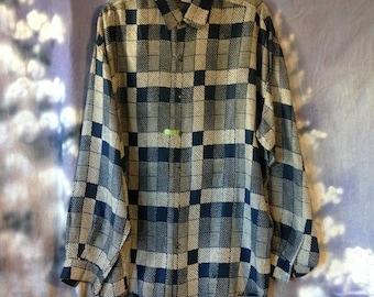 V094 High Advantage mens long sleeve blue silk shirt size L