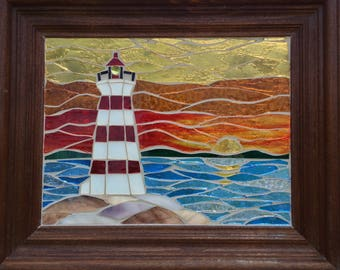 Sunset Stained Glass Lighthouse Mosaic Panel Lighthouse Stained Glass Panel - Mosaic Seascape Panel Stained Glass Mosaic Lighthouse