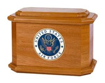 Mahogany Diplomat Military Wood Cremation Urn