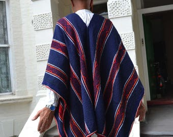 Authentic Mexican Poncho in Dark Indigo Blue