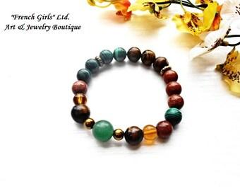 Yoga Gemstone Bracelet Universal Healing Stone Crystal Brown Green Malachite Sandstone Tigers Eye Aventurine Meditation Jewelry Chakra Zen