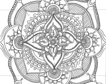 Floral Mandala - A4 Downloadable Colouring Page, Printable, PDF Download, Adult Colouring, Relaxation, Mindfulness
