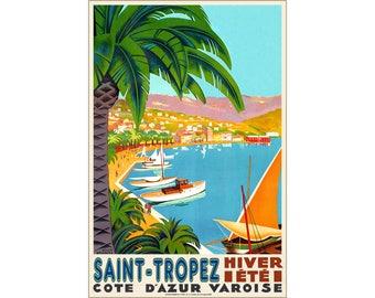 Saint-Tropez Cote D'Azur France Travel Poster Mediterranean Art Roger Broders Repro Print 313