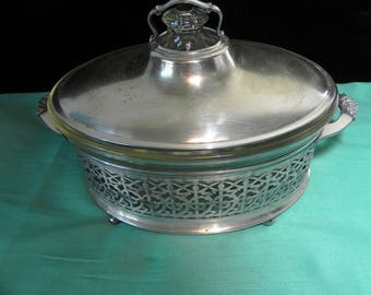 vintage casserole bowl & lid with silver holder