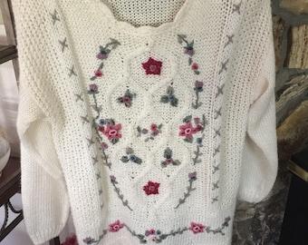 Vintage White Embellished Sweater