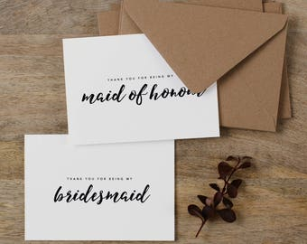 4 x Bridesmaid Thank You Card, Thank You For Being My Maid of Honor, Thank You Card Bridesmaid, Bridesmaid Gift, Thank You Wedding Cards, K8