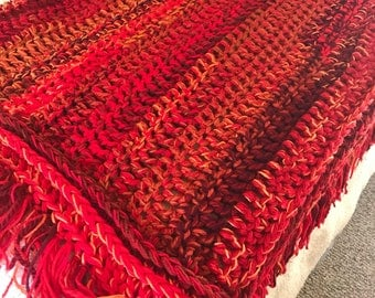 Blanket, crochet throw blanket in fire colors, red and orange crochet throw blanket, fringe blanket, red throw blanket