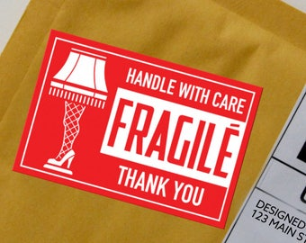 FRAGILE mailing labels - A Christmas Story, leg lamp, etsy sellers, 10 per sheet