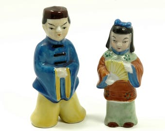 Japanese Man and Woman Porcelain Figures Made in Occupied Japan