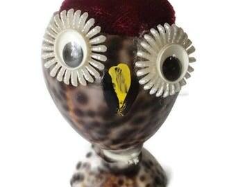 On Sale Vintage Owl Seashell Pincushion