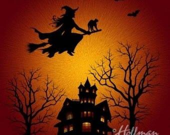 Hoffman Digital Panel -SUPERNOVA Seasons - P437-232-CITRINE Witch on a broom over the house. Halloween Print