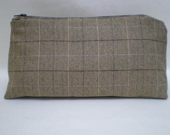 Country Tweed Wash Bag - Brown and Beige