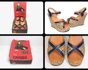 US 8 Size Women's~Rare Early 70s Lattice Print Roses Platform Wedge Peep Toe Strap Shoes -Carber L.O.V.E. w original box