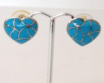 Turquoise Heart Post Earrings 925 Sterling Silver gw16-203