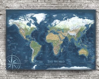 Detailed World Map, Framed or Poster, World Map Wall Art, Push Pin Travel Map, Reference World Map