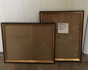 Vintage Vertical Wooden Picture Frames/black with gold trim/gift