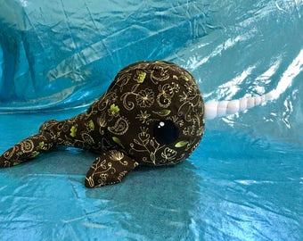 Narwhal plushie Kawaii stuffed animal Ivy vine printed plush narwhal