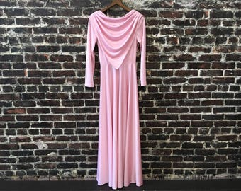 1970s Pink Disco Maxi Dress. 70s Pastel Pink Goddess Dress with Triangle Bib and Open Back, Draped Back by Zum Zum. Women's Small/Medium.