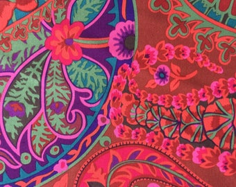 PAISLEY JUNGLE Rust Red GP60 Kaffe Fassett Sold in 1/2 yd increments