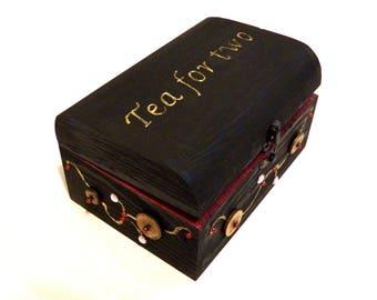 Wedding Tea Box, Couple Tea Box, Little Tea Box for Travel, Personalized Tea for Two, Bride Teabox, Wood Tea Box, Tea Pack Box