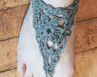 Gray Crochet Barefoot Sandals Flower Pattern