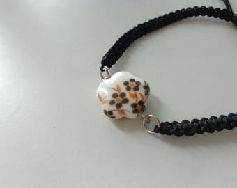 Flower Shamballa Bracelet, black bracelet, flower bracelet
