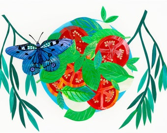 Limited edition Giclée butterfly and caprese salad art print