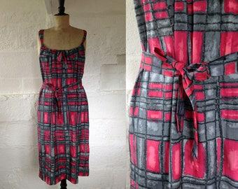 1950s Cannes Starlet Atomic Print Sun Dress / 50s Dress / Vintage Summer Dress / SIZE UK 12