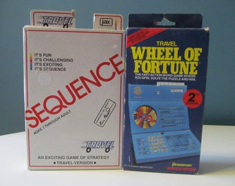 Set Of Two (2) Vintage / Retro Wheel Of Fortune And Sequence Travel Car Board Games To Go / On The Go