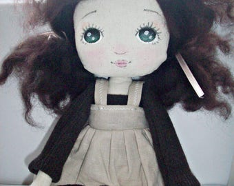 cloth doll, rag doll, collectible doll, gift girl, nursery decor