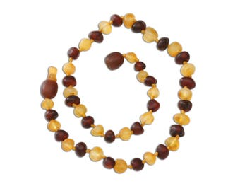 Genuine Baltic Amber Teething Necklace (ATNU-BQ-Dark Cherry/Lemon)