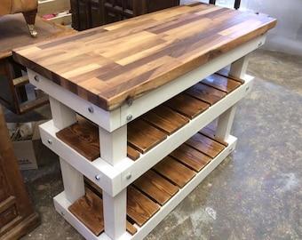 Solid Chunky 2 Shelf Kitchen Island - Walnut Top