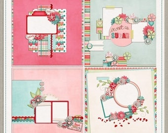 ON SALE NOW 65% off Sugar Valentines Digital Scrapbook Quick Pages