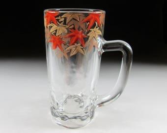 Hand Painted Beer Glass, Zuiko Gama, Autumn Leaves, Koedo