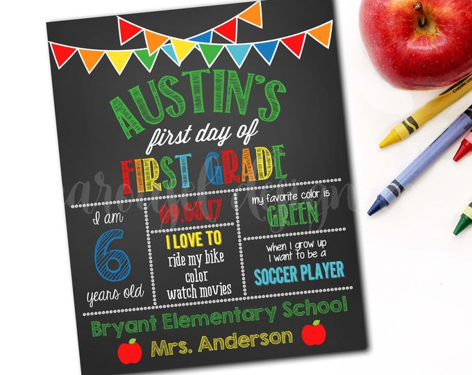 First Day Of School Sign, Back To School Sign, Chalkboard School Sign, School Photo Prop, 1st Day Of School Sign, DIY Printable