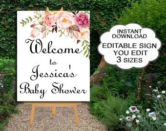Floral Baby Shower Welcome Sign or Bridal Shower, 3 Sizes - EDITABLE - YOU EDIT - Large Poster Peach Floral Boho Sign, instant download 021