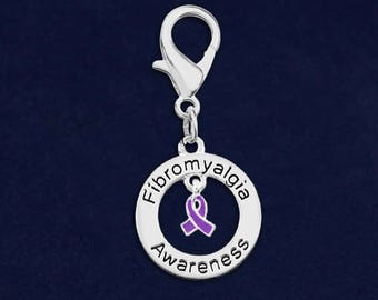 25 Fibromyalgia Awareness Hanging Charms In a Bag (25 Charms) (HC-126-4FB)