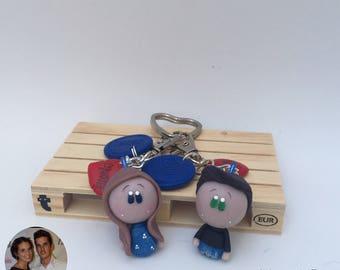 Mini Custom Keychain Chibi Version for 2 (cold porcelain)