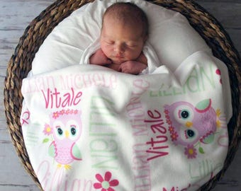 Personalized Owl Baby Blanket - Owl Receiving Blanket for Girls - Flower Owl Baby Name Blanket - Newborn Swaddling Blanket - Baby Photo Prop